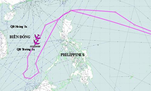 Hai oanh tạc cơ B-52 Mỹ xuất phát từ đảo Guam tuần tra trên Biển Đông hôm 27/8. Ảnh: Aircraft Spots.