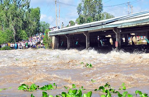 Việc xả đập tràn Tha La và Trà Sư nhằm điều tiết lũ từ thượng nguồn Campuchia ra biển Tây. Ảnh: An Phú