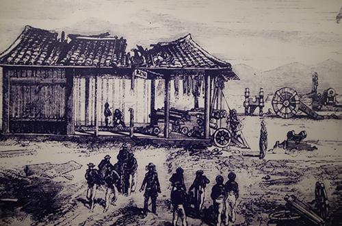 Tranh vẽ quang cảnh bên trong đồn Điện Hải khi liên quân Pháp - Tây Ban Nha chiếm đóng sáng 1/9/1858. Ảnh: Tư Liệu.
