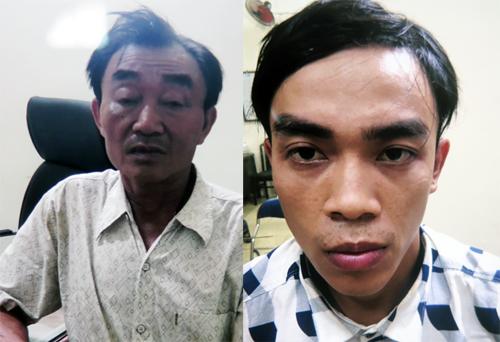 Nguyễn Khanh và con trai Nguyễn Tấn Thành bị bắt hồi tháng 7. Ảnh: Công an cung cấp.