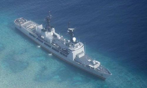 Tàu hộ vệ Gregorio del Pilar mắc cạn hôm 30/8. Ảnh: Max Defense.