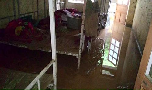 Trường THCS dân tộc bán trú Nà Ớt (Mai Sơn, Sơn La) bị lũ quét qua ngày 28/8. Ảnh: Hoàng Thành.
