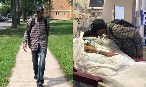 Bất kể mưa nắng, suốt nhiều năm qua, cụ ông 99 tuổi Luther Younger luôn vượt qua quãng đường đi và về dài 10 km tới thăm vợ trong bệnh viện. Ảnh: CBS.