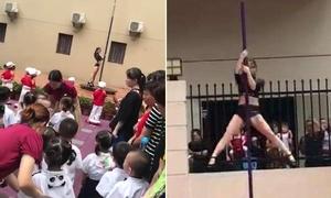 Trường mẫu giáo Trung Quốc biểu diễn múa cột trong ngày khai giảng