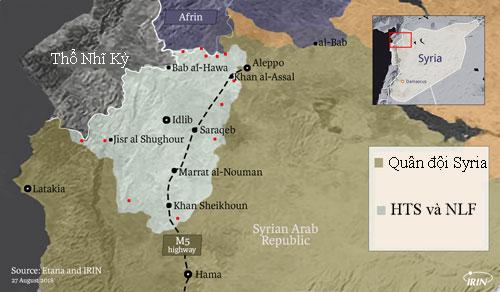Quân đội Syria đang bao vây tỉnh Idlib, nơi phiến quân HTS kiểm soát 60% và NLF kiểm soát phần còn lại. Đồ họa: IRIN.