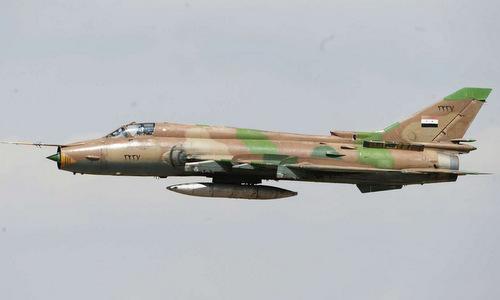 Một chiếc Su-22 của Syria xuất kích hồi tháng 4/2017. Ảnh:Sputnik.