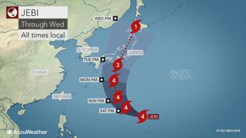 Sơ đồ đường đi của bão Jebi khi đổ bộ miền tây Nhật Bản. Đồ họa: Accu Weather.