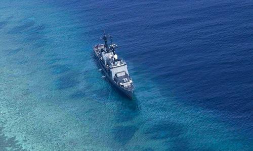 Tàu hộ vệ Gregorio del Pilar mắc cạn ở Bãi Trăng Khuyết hôm 30/8. Ảnh: Max Defense.