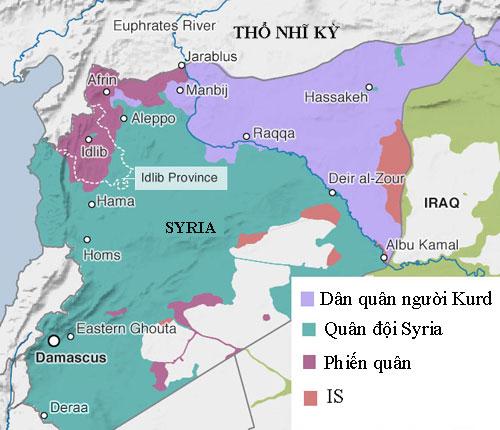 Quân đội Syria đang bao vây ba mặt tỉnh Idlib, sẵn sàng mở chiến dịch giải phóng quy mô lớn. Đồ họa: IHS.