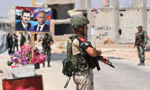 Quân cảnh Nga tại một chốt kiểm soát ở khu vực vừa được giải phóng từ tay phiến quân ở Syria. Ảnh: AFP.