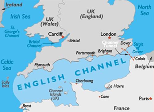 Vị trí của eo biển Manche (English Channel) nằm giữa Anh và Pháp. Đồ họa: World Atlas