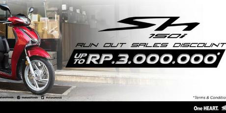 Thông báo giảm giá 200 USD cho SH150i được thông báo trên website của đại lý Honda. Ảnh: Kompas.