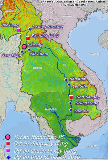 Các thủy điện trên dòng chính sông Mekong.