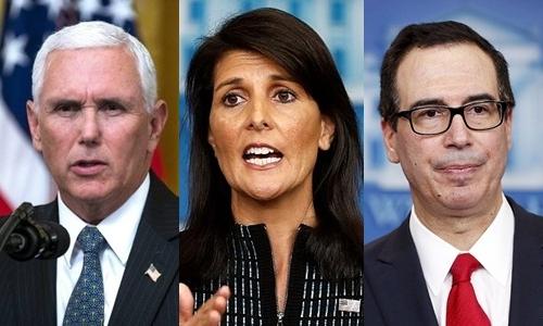 Từ trái qua, Phó tổng thống Mỹ Mike Pence, Đại sứ Mỹ tại Liên Hợp Quốc Nikki Haley và Bộ trưởng Tài chính Steven Mnuchin. Ảnh: Reuters.