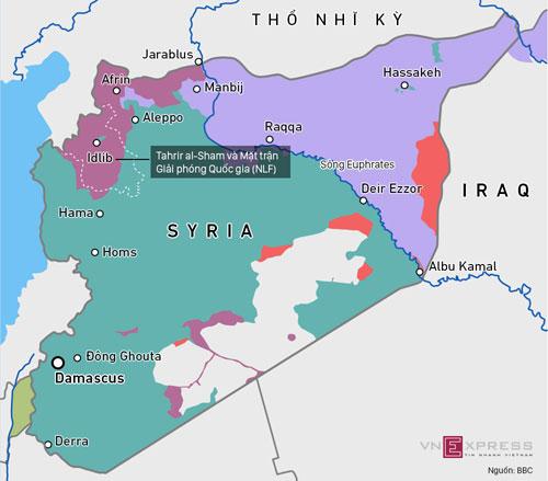 Lãnh thổ bị chia năm xẻ bảy của Syria. Bấm vào ảnh để xem chi tiết.