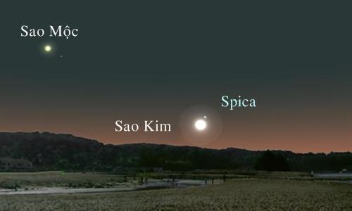 Sao Kim và ngôi sao Spica nằm ở vị trí gần nhau ngày 1/9. Ảnh: A. Fazekas.
