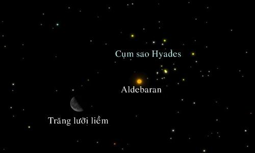 Trăng lưỡi liềm xuất hiện gần ngôi sao Aldebaran và cụm sao Hyades vào ngày 3/9. Ảnh: A. Fazekas.