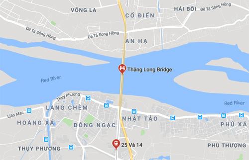 Cầu Thăng Long nối quận Bắc Từ Liêm với huyện Đông Anh, Hà Nội.