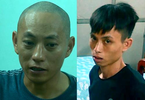Hùng (trái) và Quang tại cơ quan điều tra. Ảnh: An Phước