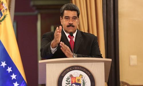 Tổng thống Venezuala Nicolas Maduro phát biểu trước các quan chức chính phủ tại Caracas ngày 4/8. Ảnh: Reuters.