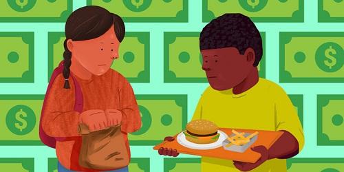 Nhiều học sinh Mỹ cảm thấy mặc cảm khi ăn trưa ở trường học. Ảnh: Huffington Post
