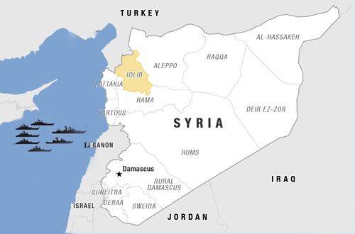 Nga đang duy trì đội tàu chiến lớn ở vùng biển Địa Trung Hải ngoài khơi Syria. Đồ họa: NPR.