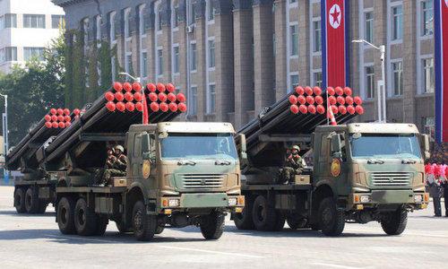 Pháo phản lực phóng loạt của Triều Tiên trong cuộc duyệt binh hôm 9/9. Ảnh: NK News.