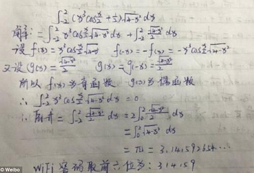 Người dùng mạng xã hội chia sẻ cách giải bài toán. Ảnh: Weibo
