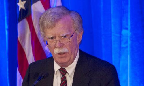Cố vấn an ninh quốc gia Mỹ John Bolton phát biểu trong cuộc họp vớitổ chức Federalist Society tại Washington hôm qua. Ảnh: AFP.