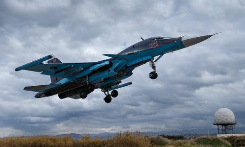 Tiêm kích Su-34 Nga làm nhiệm vụ tại Syria hồi năm 2017. Ảnh: TASS.