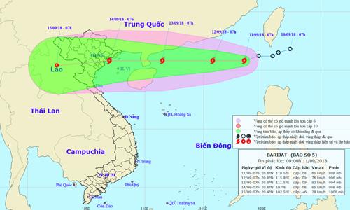 Vị trí và dự báo đường đi của bão BARIJAT. Nguồn: NCHMF.