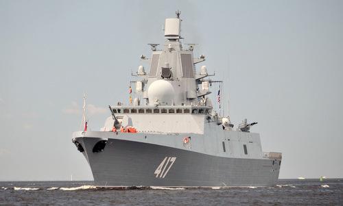 Tàu hộ vệ Đô đốc Gorshkov trong lần thử nghiệm trên biển năm 2017. Ảnh: TASS.