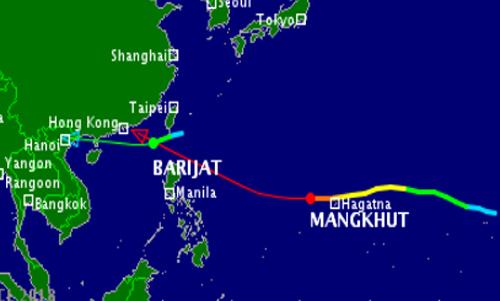 Dự báo đường đi của hai cơn bão Barijat và Mangkhut. Nguồn: Vnbaolut.