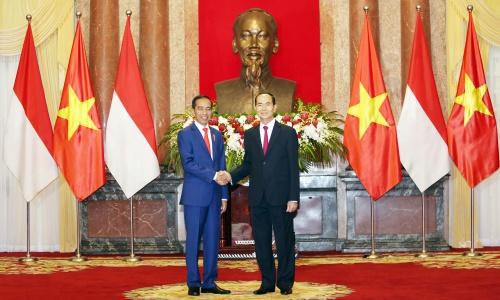 Tổng thống Indonesia Widodo, trái, và Chủ tịch nước Trần Đại Quang trong cuộc gặp hôm nay. Lâm Thoả.