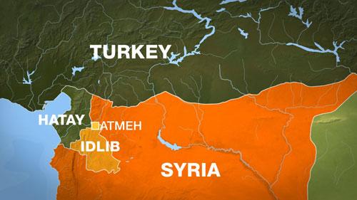 Tỉnh Idlib của Syria có biên giới giáp với tỉnh Hatay của Thổ Nhĩ Kỳ. Đồ họa: Al Jazeera.