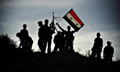 Binh sĩ chính phủ Syria tại một cứ điểm gần tỉnh Idlib hồi cuối tháng 8. Ảnh: SANA.