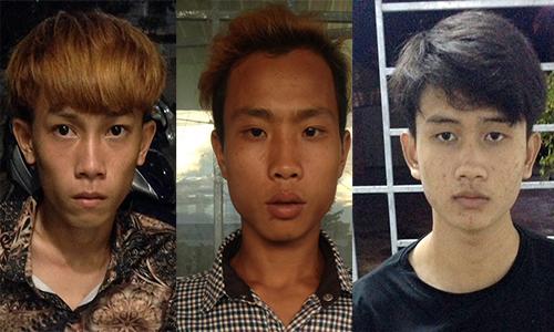 Ba trong số 11 nghi can tại cơ quan điều tra. Ảnh: Hồng Tuyết.