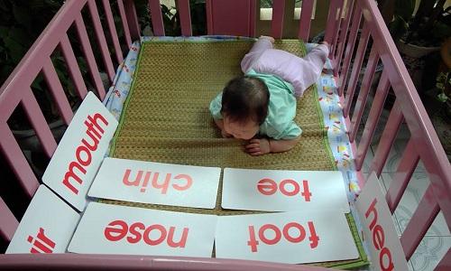 Con gái cô Phạm Hạnh lúc ba tháng tuổi, đang tập cổ và luyện mắt nhưng được mẹ đặt sẵn flash card để làm quen với từ vựng tiếng Anh. Ảnh: NVCC