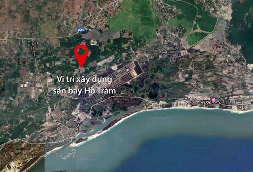 Vị trí xây dựng sân bay Hồ Tràm đề xuất nằm gần biển.