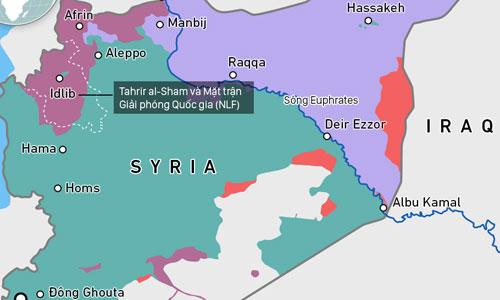 IS vẫn kiểm soát một khu vực ở miền đông Syria (màu cam). Bấm vào ảnh để xem chi tiết.