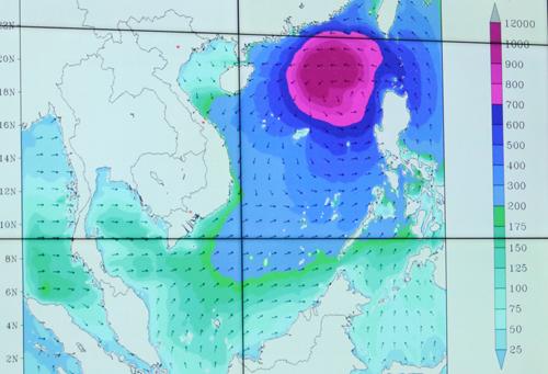 Dự báo nước dâng do bão Mangkhut đổ bộ và thuỷ triều dâng. Nguồn. NCHMF.