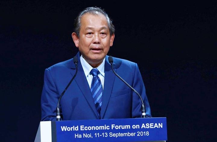 Phó Thủ tướng Trương Hòa Bình tại phiên bế mạc WEF ASEAN. Ảnh: Giang Huy