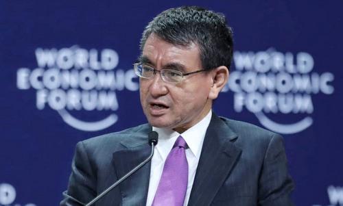 Ngoại trưởng Kono trong phiên thảo luận tại WEF ASEAN hôm 13/9. Ảnh: Giang Huy.