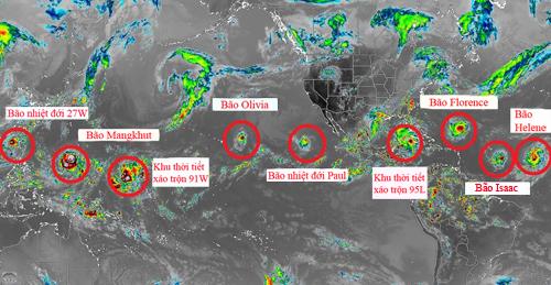 Các cơn bão hiện tại và chuẩn bị hình thành trên Đại Tây Dương và Thái Bình Dương. Ảnh: Twitter/Jamaica Weather.