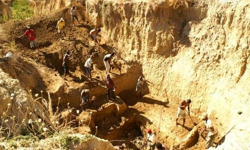 Các nhà nghiên cứu khai quật xương chim voi ở di chỉ bên sông Christmas, Madagascar. Ảnh: BBC.