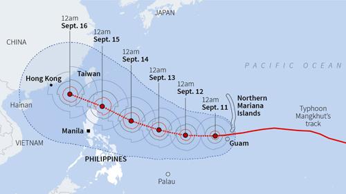 Đường đi của siêu bão Mangkhut theo dự báo của Trung tâm Cảnh báo Bão Liên hợp Mỹ (JTWC). Ảnh: Reuters.