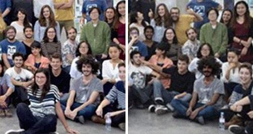 Màu da của nam sinh tóc xoăn đã bị thay đổi so với bản gốc bên trái. Ảnh: Bored Panda