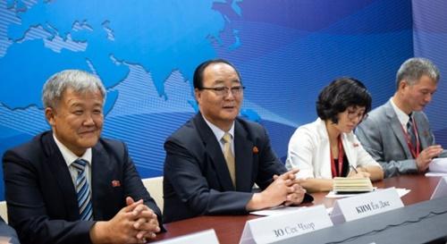 Bộ trưởng Kinh tế Đối ngoại Triều Tiên Kim Yong-jae (thứ hai từ trái qua) tại cuộc gặp với lãnh đạo khu vực Primorye ngày 13/9. Ảnh: Primorsky Krai Administration.
