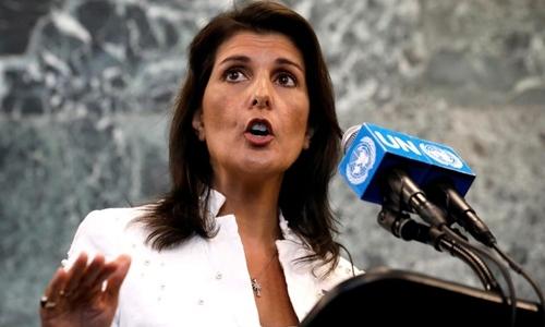 Đại sứ Nikki Haley phát biểu tại trụ sở của Liên Hợp Quốc ở New York ngày 20/7. Ảnh: Reuters.