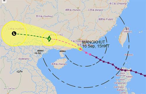 Dự báo đường đi và vùng ảnh hưởng của bão Mangkhut. Ảnh: Đài Hong Kong